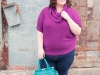 Lands End Cowl Neck sweater via Gwynnie Bee; Old Navy Premium Denim bootcut jeans; Olivia + Joy handbag