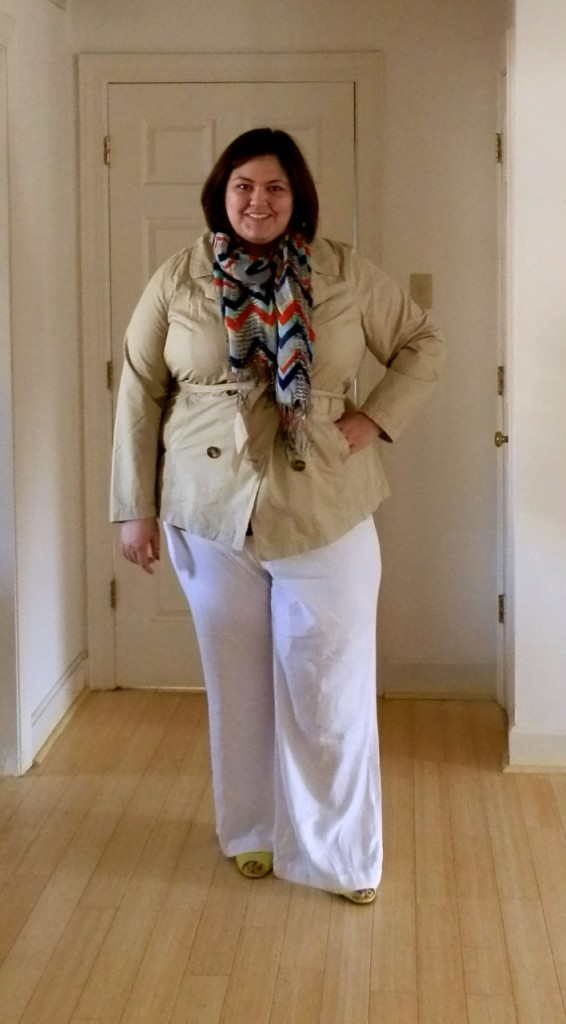 Plus size white linen pants