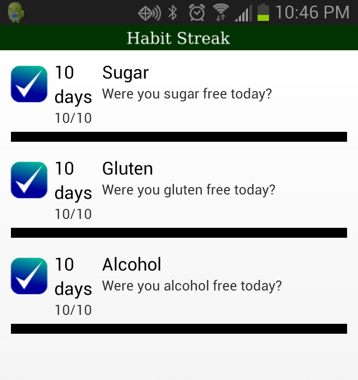 Habit streak for accountability