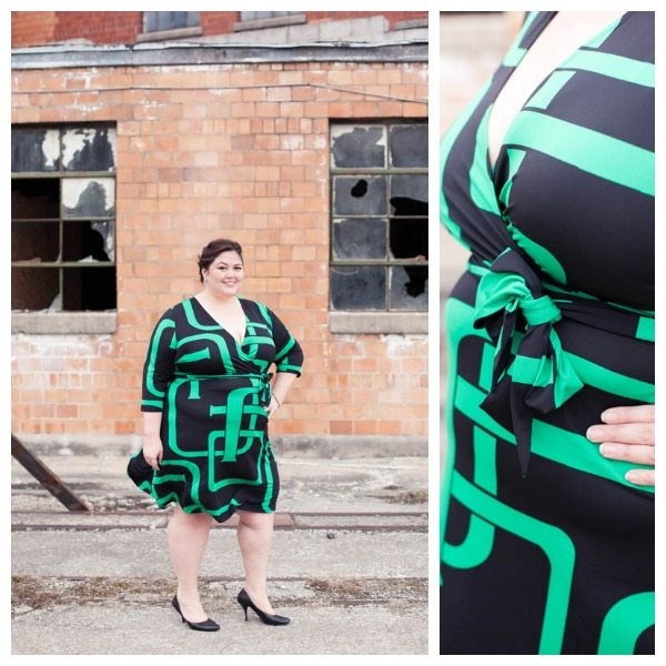 INC. International Concepts Printed faux wrap dress plus size