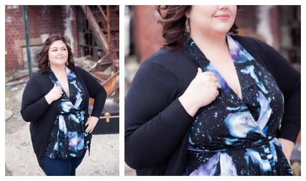ASOS Curve Galaxy Print Top with Cardigan