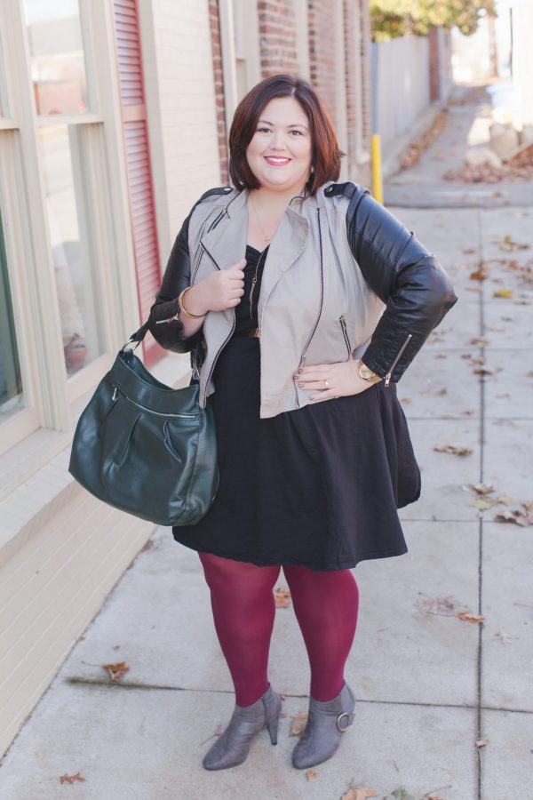Plus size blogger Authentically Emmie in an ASOS Curve Skater Skirt and MYNT 1792 Jacket