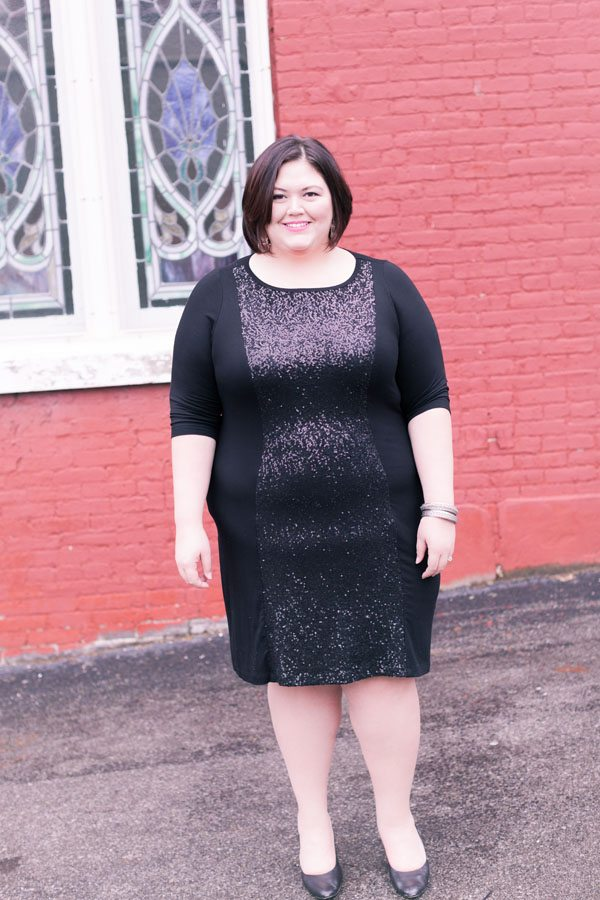 Karen Kane Sequin Contrast Dress from Gwynnie Bee on Authentically Emmie