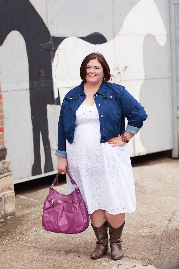 Emmie in SWAK Dress and denim jacket