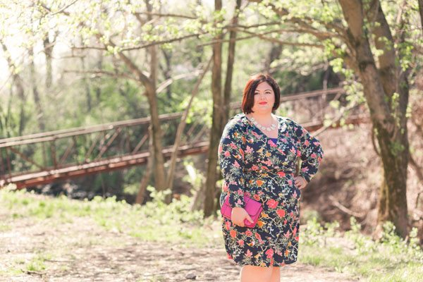 ASOS Curve floral wrap front dress on plus size fashion blogger Authentically Emmie