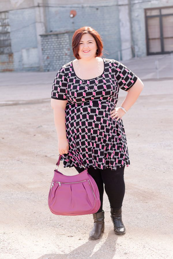 Emmie of Authentically Emmie in a Melissa Masse dress from Gwynnie Bee