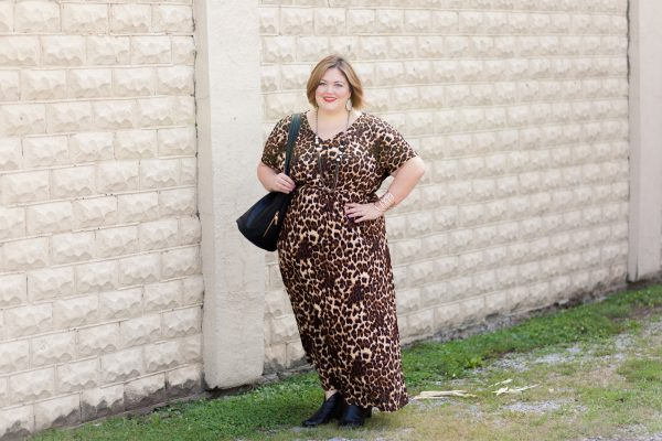 Elissa Plus Size Maxi Dress in Mocha Leopard