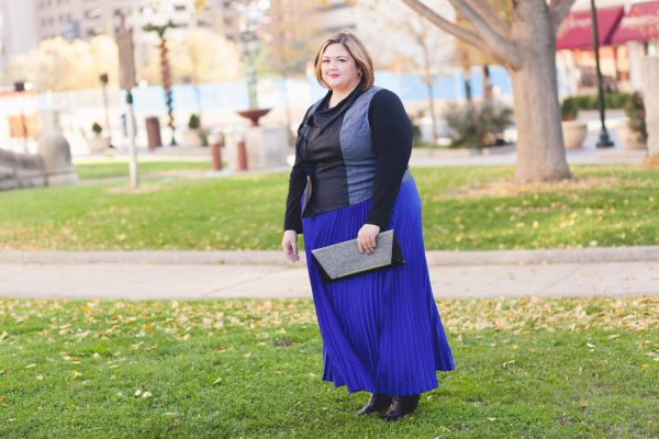 Eloquii Pleated Skirt + Karen Kane Contrast Moto Vest on Authentically Emmie