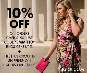 Save 10% from IGIGI using code EMMIE10