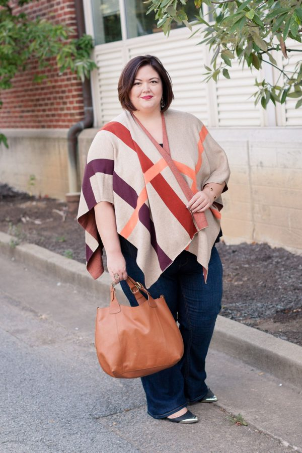 Plus size fashion blogger Authentically Emmie in a Plaid Wrap from Talbots