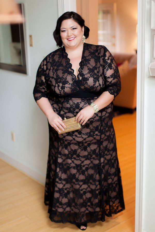 Plus size fashion blogger Authentically Emmie in the Kiyonna Screen Siren Lace Gown