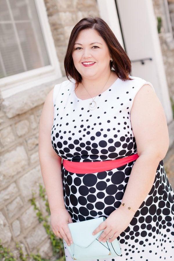 Authentically Emmie in a Sandra Darren Dress from Gwynnie Bee Subscription