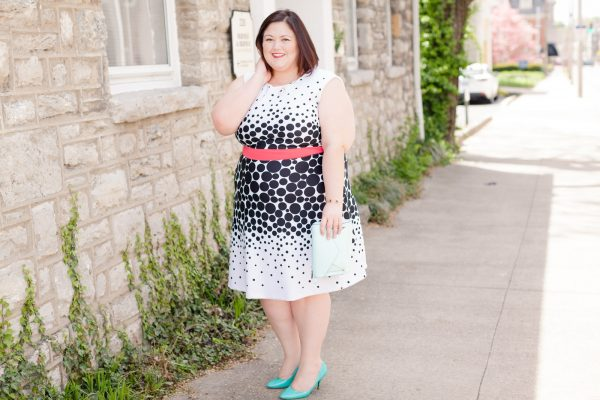 Authentically Emmie in a Sandra Darren Dress from Gwynnie Bee Subscription
