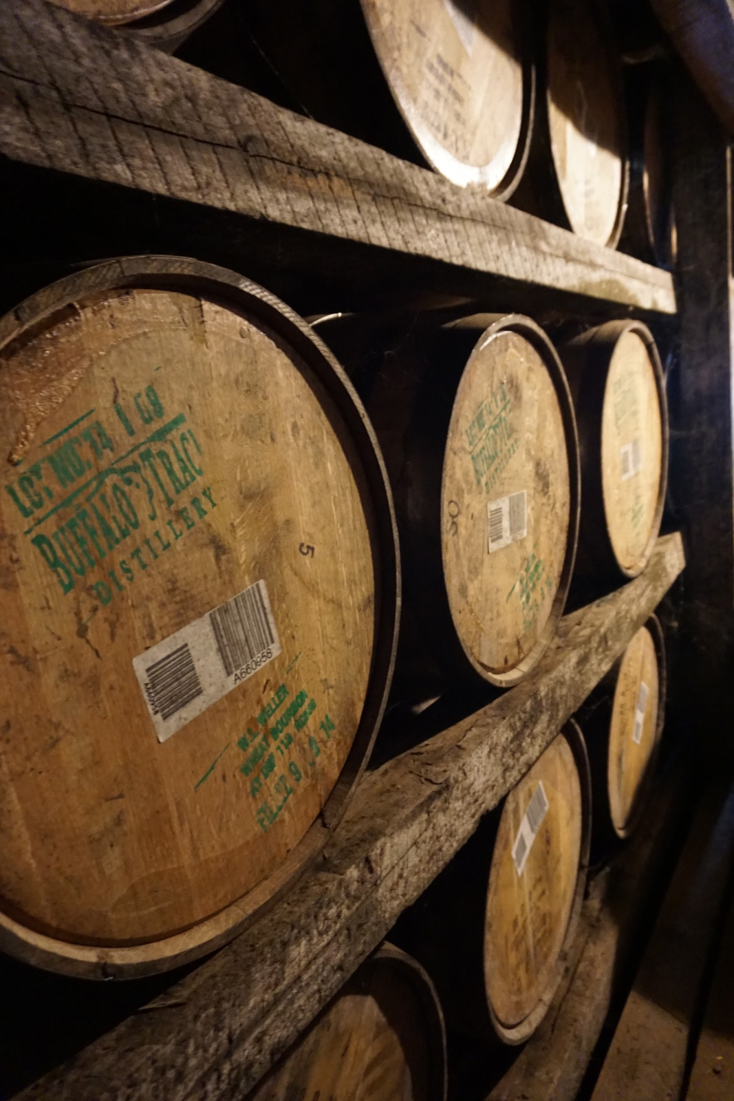 Bourbon barrels at Buffalo Trace distillery