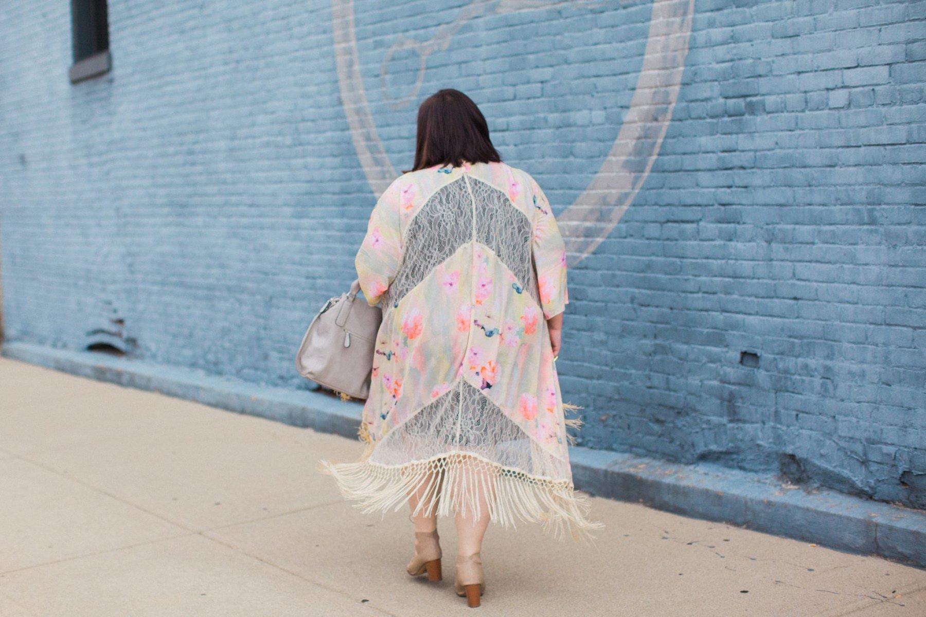 Melissa McCarthy Seven7 Fringe Floral Kimono on Authentically Emmie
