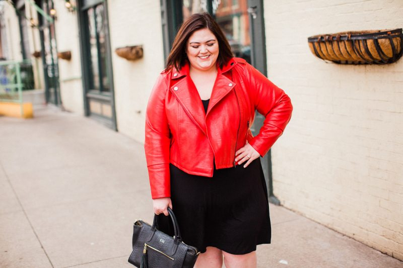 Red Eloquii moto jacket - a plus size essential