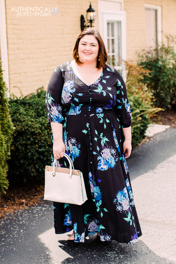 An easy summer plus size maxi dress from City Chic on plus size blogger Authentically Emmie. #plussize #ootd #maxidress #citychic
