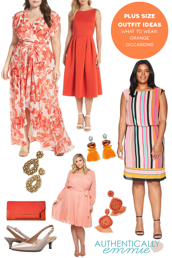 Plus size outfit ideas for an orange themed event.