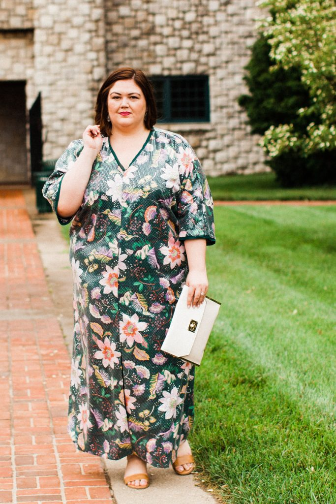 Plus size sequin caftan from Eloquii on Authentically Emmie