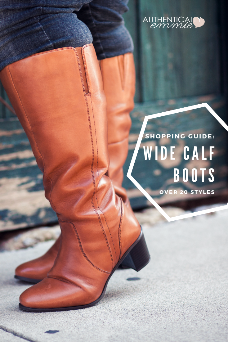 Stop your search for wide calf or extra wide calf boots! #plussize blogger Authentically Emmie shares over 20 of her favorites with calf measurements, and 13 top stores to find exactly the boots you want. #boots #widecalf #fallfashion