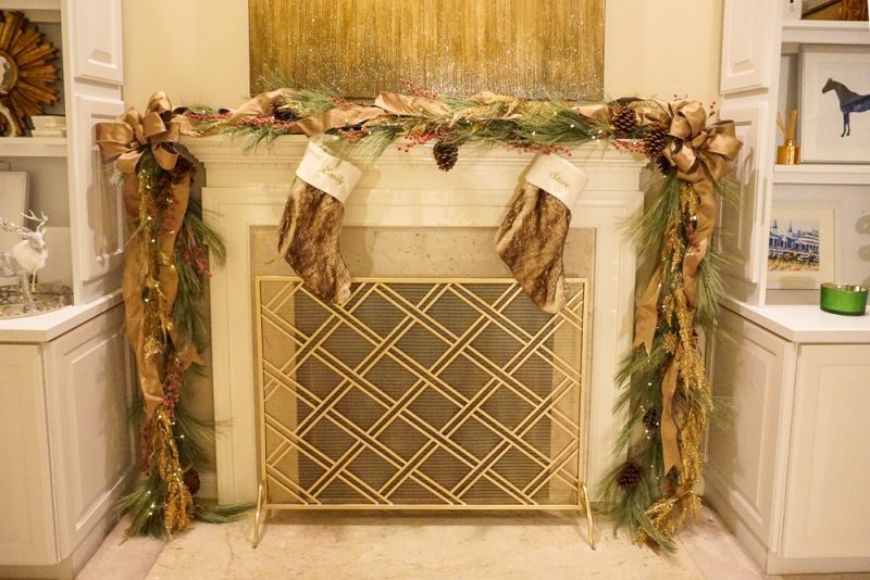 Fireplace mantle garland with long needle pine and bows