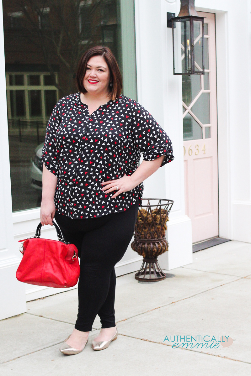 Plus size fashion blogger Authentically Emmie shares a Valentine's inspired outfit from Catherines. See more #plussize #ootd and #30plusstyle on the blog. #catherinesstyle