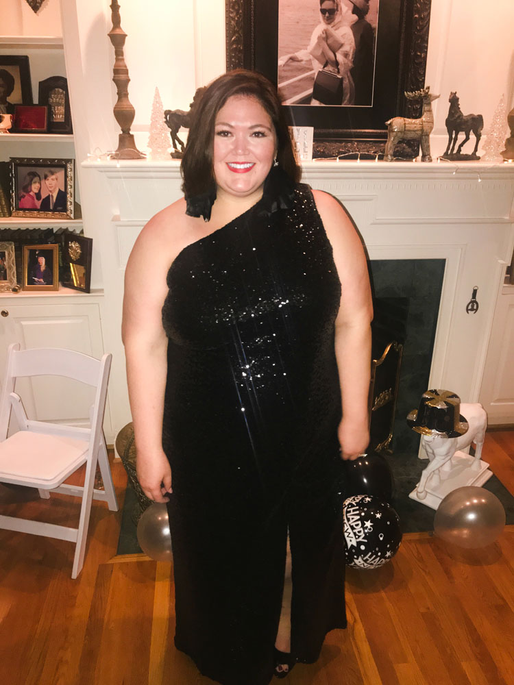 Plus size fashion blogger Authentically Emmie in a Jason Wu for ELOQUII gown.