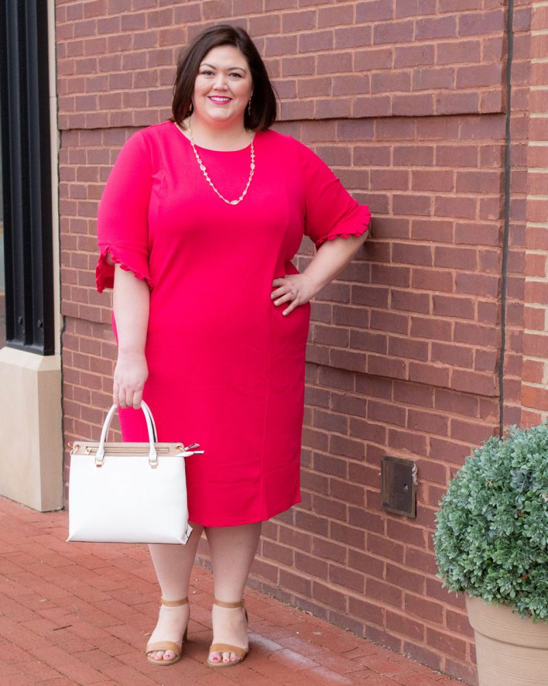 Perfect pink plus size dress for work from Catherines