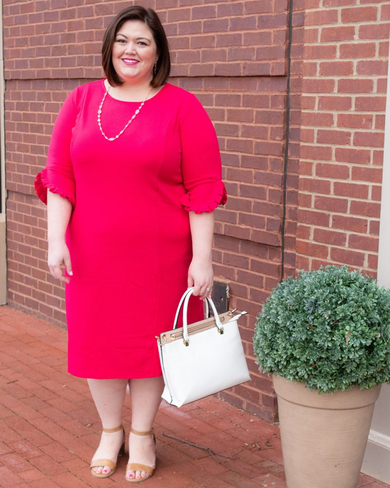 Work appropriate pink plus size dress from Catherines