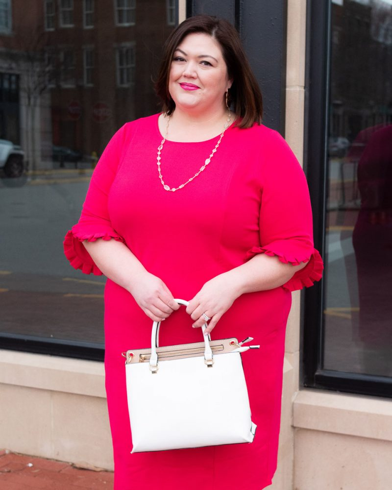 Pink plus size date night dress from Catherines