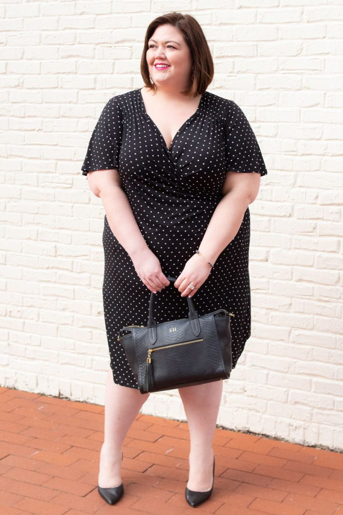 National dress day with plus size polka dot dress