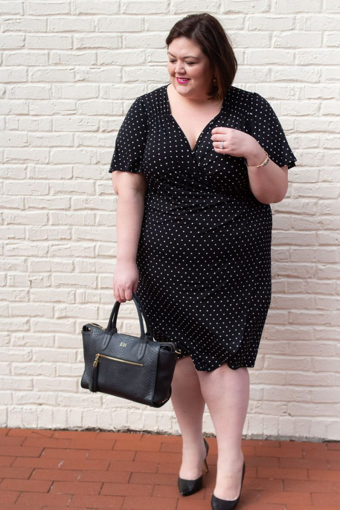 Polka dot wrap dress for spring from Catherines