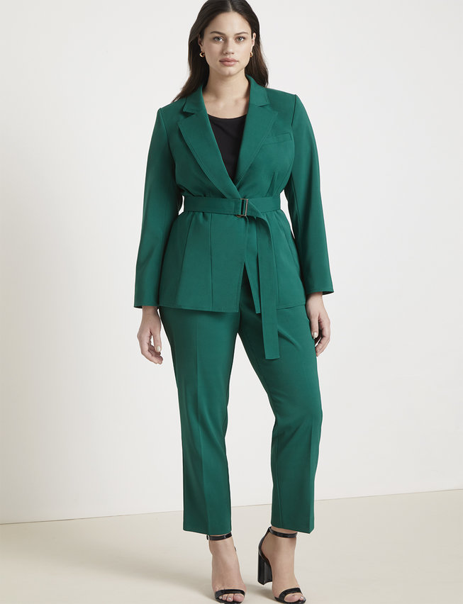 Jason Wu/ELOQUII Jungle Green Belted Blazer and Tapered Leg Trouser