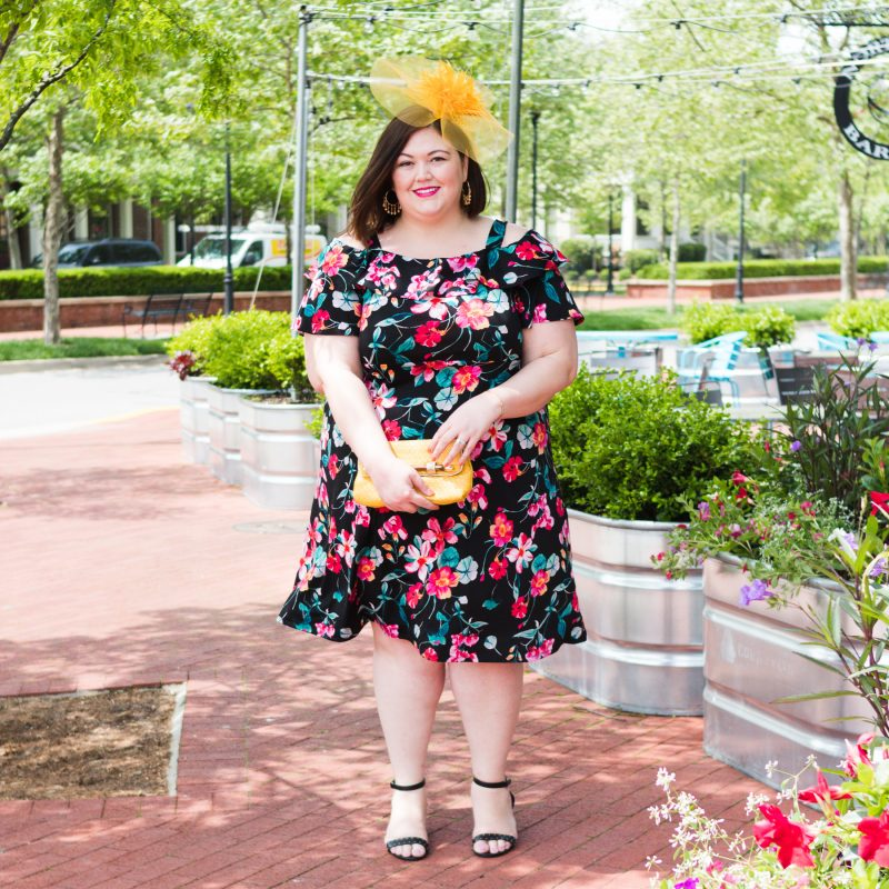 Fun floral dress idea for the Kentucky Derby from plus size blogger Authentically Emmie and Catherines