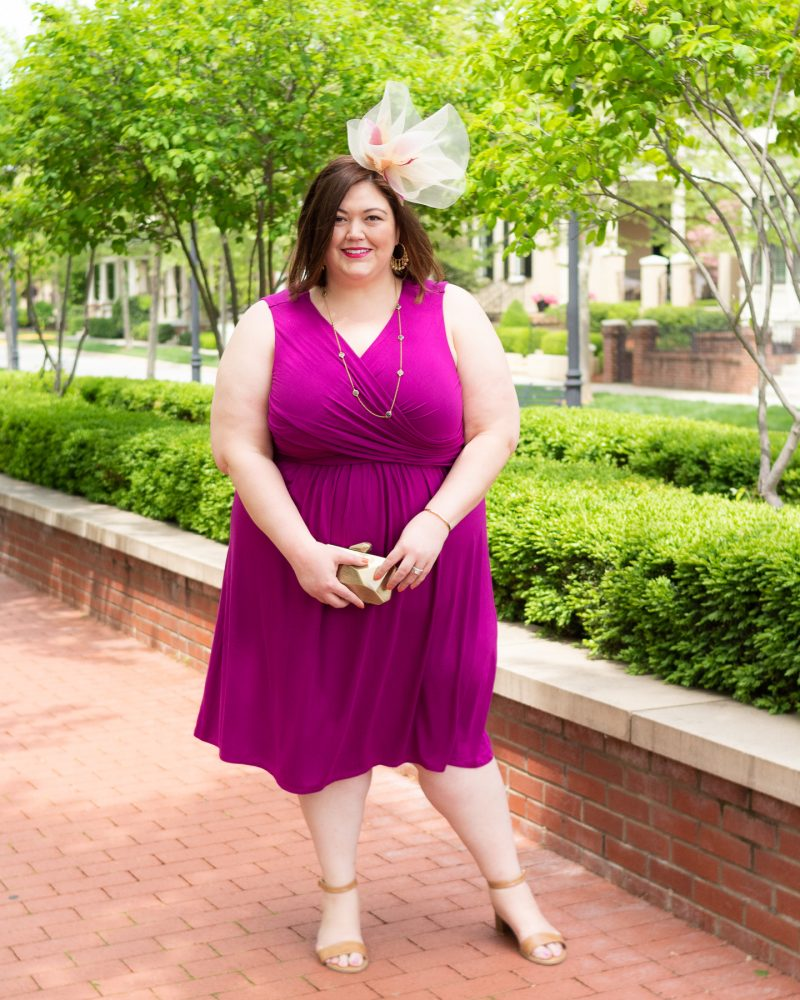 Comfortable fuchsia plus size dress for the Derby from Catherines and Louisville blogger Authentically Emmie