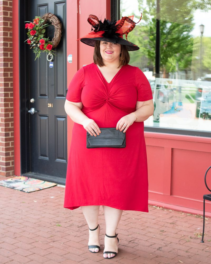 Bold red plus size Kentucky Derby outfit idea from Louisville blogger Authentically Emmie