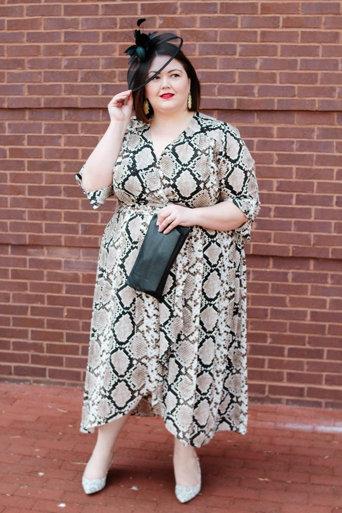 Plus size Kentucky Derby outfit idea from blogger Authentically Emmie