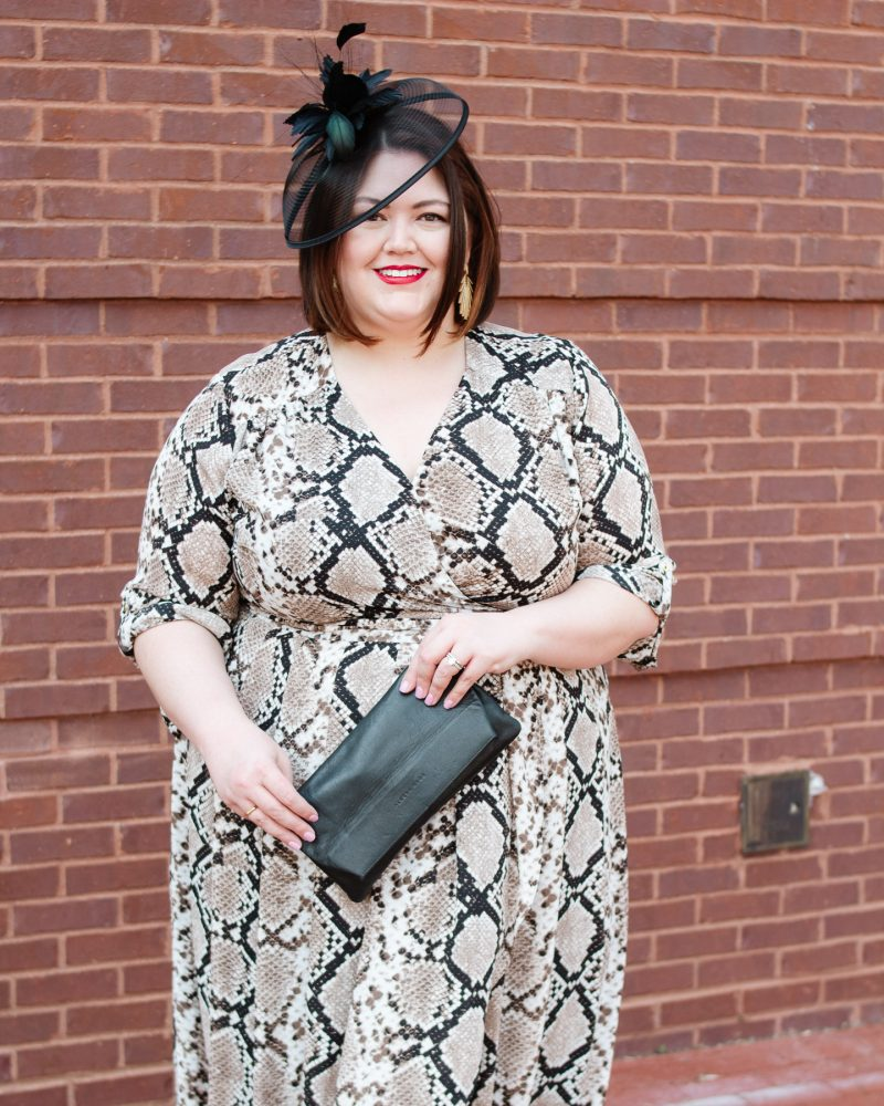 Animal print plus size Kentucky Derby outfit idea from blogger Authentically Emmie