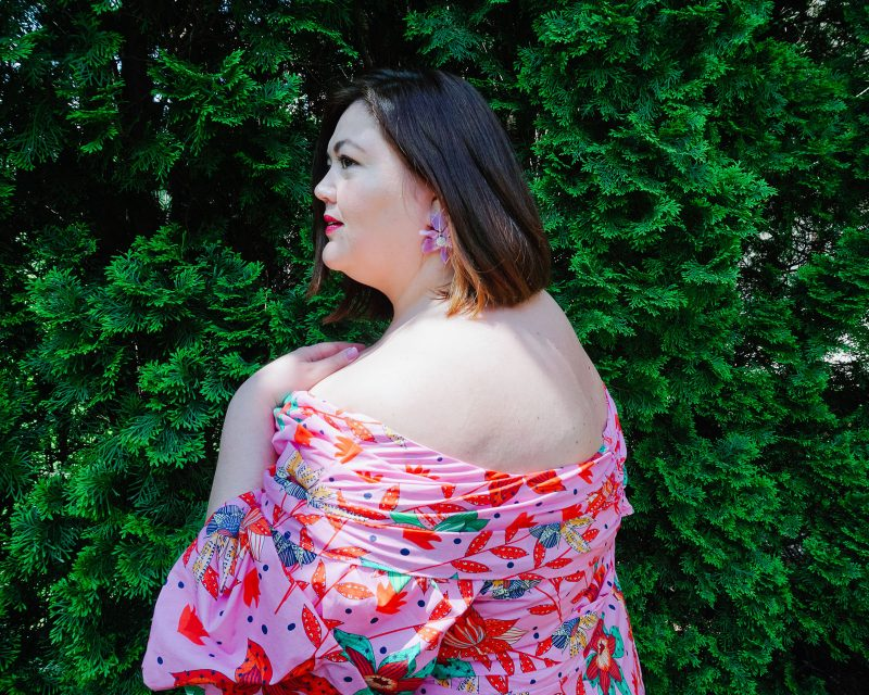 Pink off the shoulder plus size dress from Eloquii