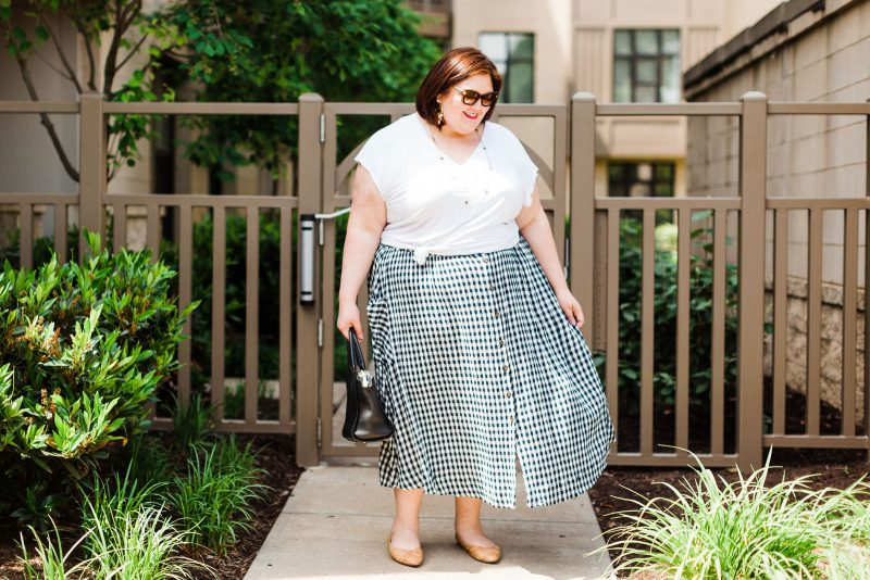 gingham print summer outfit idea