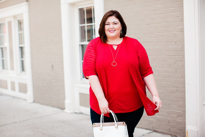 A red cardigan set for summer and fall in plus sizes