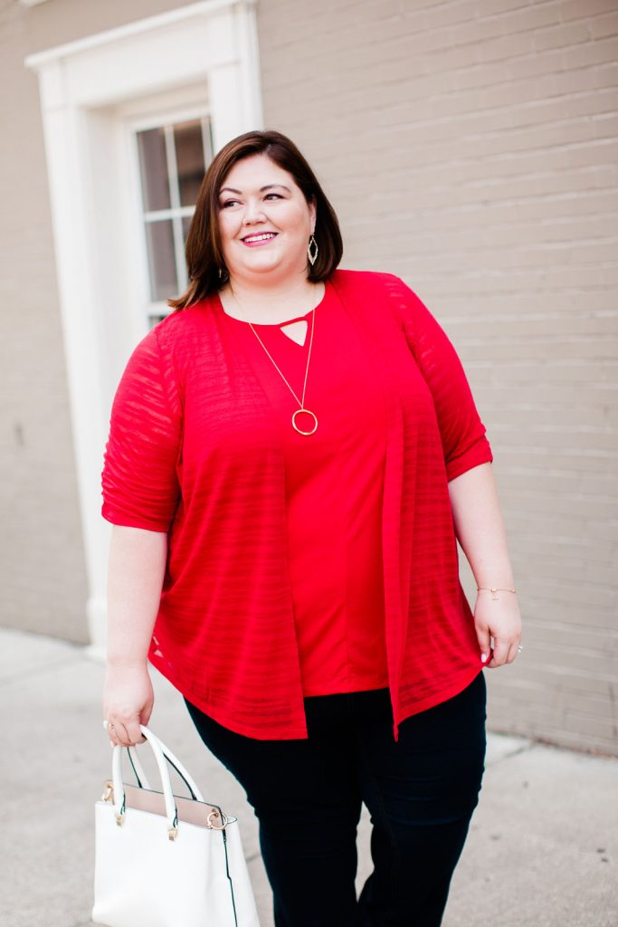 A casual cardigan outfit from plus size blogger Authentically Emmie