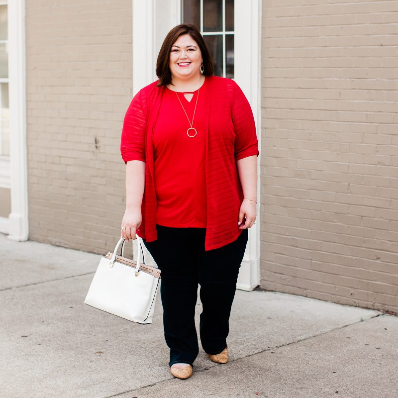 Plus size blogger Authentically Emmie in a Catherines layered outfit for work or play