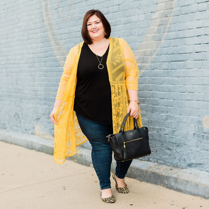Authentically Emmie wears a Lane Bryant outfit with tank, overpiece, and new jeans