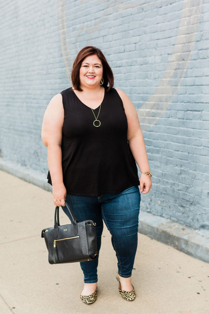 Casual outfit from Lane Bryant on plus size fashion blogger Authentically Emmie