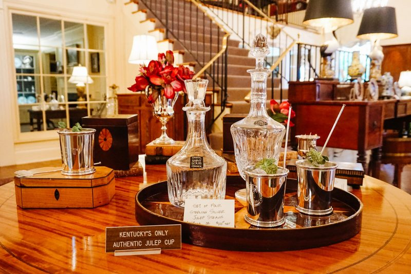 Authentic julep cup and decanters at Wakefield near Louisville