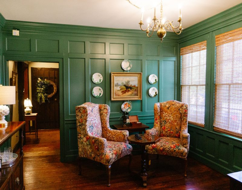 Gorgeous green paneled room in Wakefield-Scearce, antiques near Louisville