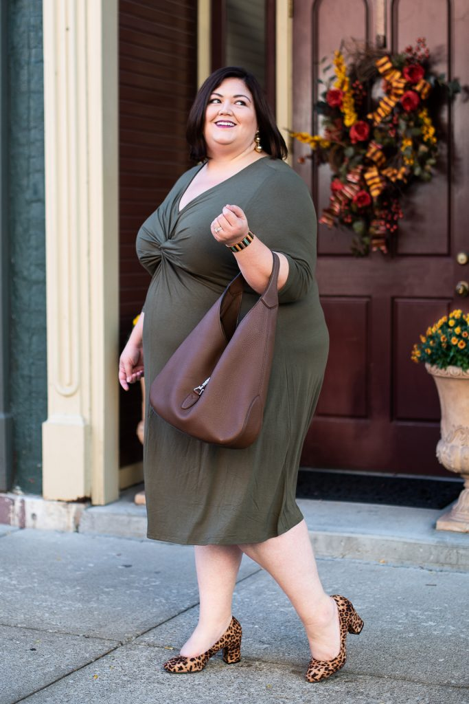 An olive green dress as plus size fall inspiration