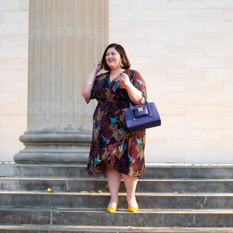 Plus size mixed print wrap dress from Catherines