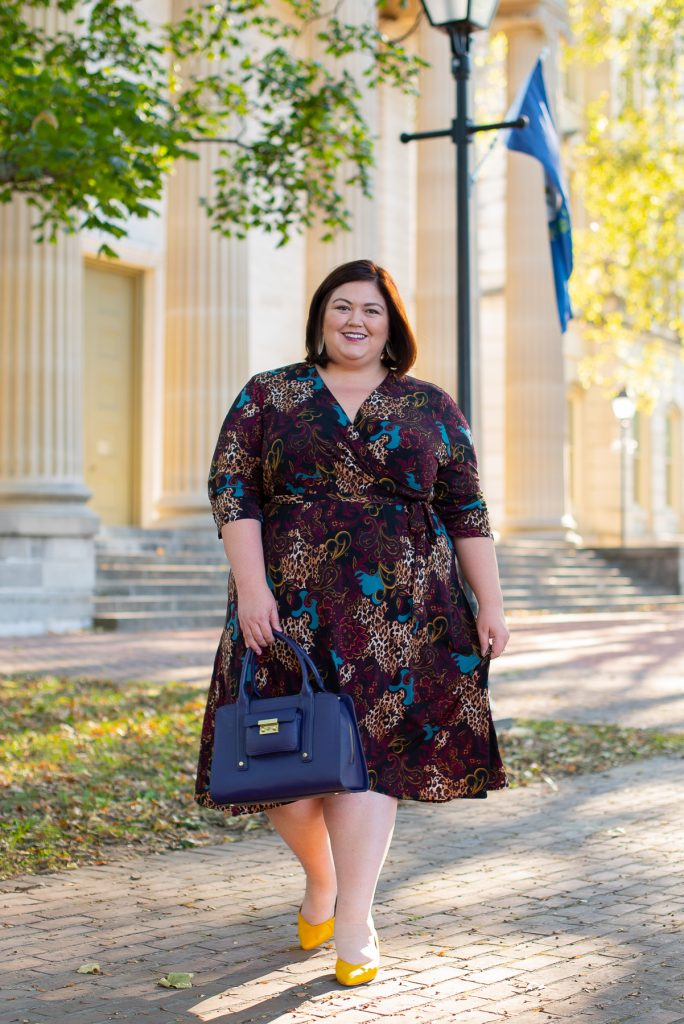 Mixed print wrap dress in plus sizes from Catherines